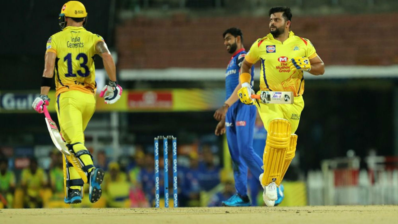 Suresh Raina then along with Faf du Plesssis struck an 83-run stand as the two batsmen helped CSK rebuild after the early shock. The partnership was broken in the 14th over when Axar Patel dismissed du Plessis. CSK were 87/2.