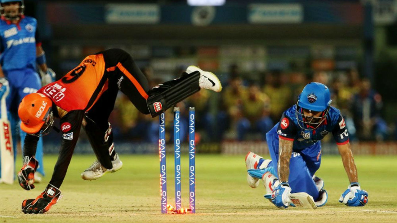 Dhawan was stumped in the eighth over on a delivery by Deepak Hooda. The left hanjder made 17 as DC were 66/1.
