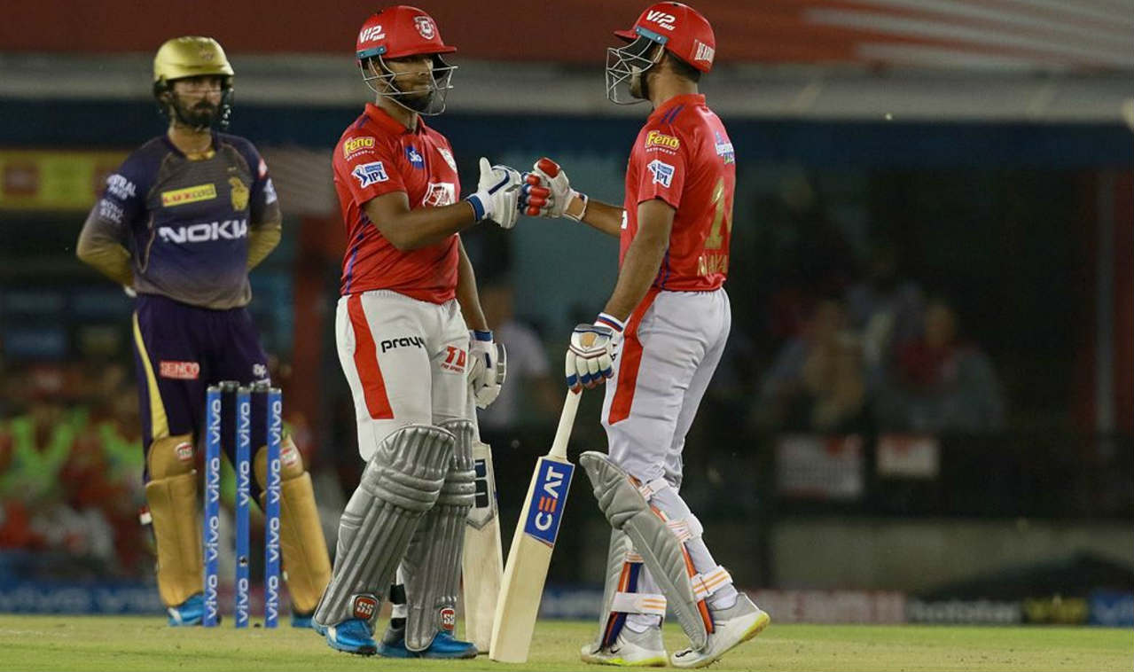 Nicholas Pooran and Mayank Agarwal then steadied the innings with a 69-run partnership off just 40 balls. Pooran was fantastic for KXIP hitting 3 fours and 4 sixes before Dinesh Karthik introduced Nitish Rana into the attack in the 11th over. In what was his only over of the game, Rana got Pooran caught out, sending him back with 48 off just 27 balls. (Image: BCCI, iplt20.com)