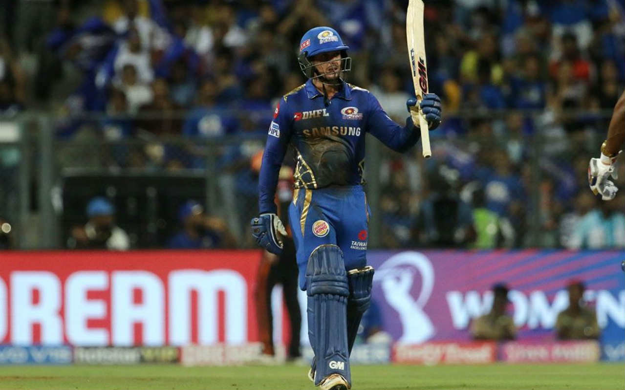 Bhuvneshwar Kumar got Hardik Pandya caught out in the 16th over with a quick bouncer preventing the dangerous batsman from inflicting any damage. Hardik returned with just 18 off 10 balls. de Kock continued at the crease and brought up his fifty in the 17th over from 48 balls. (Image: BCCI, iplt20.com)