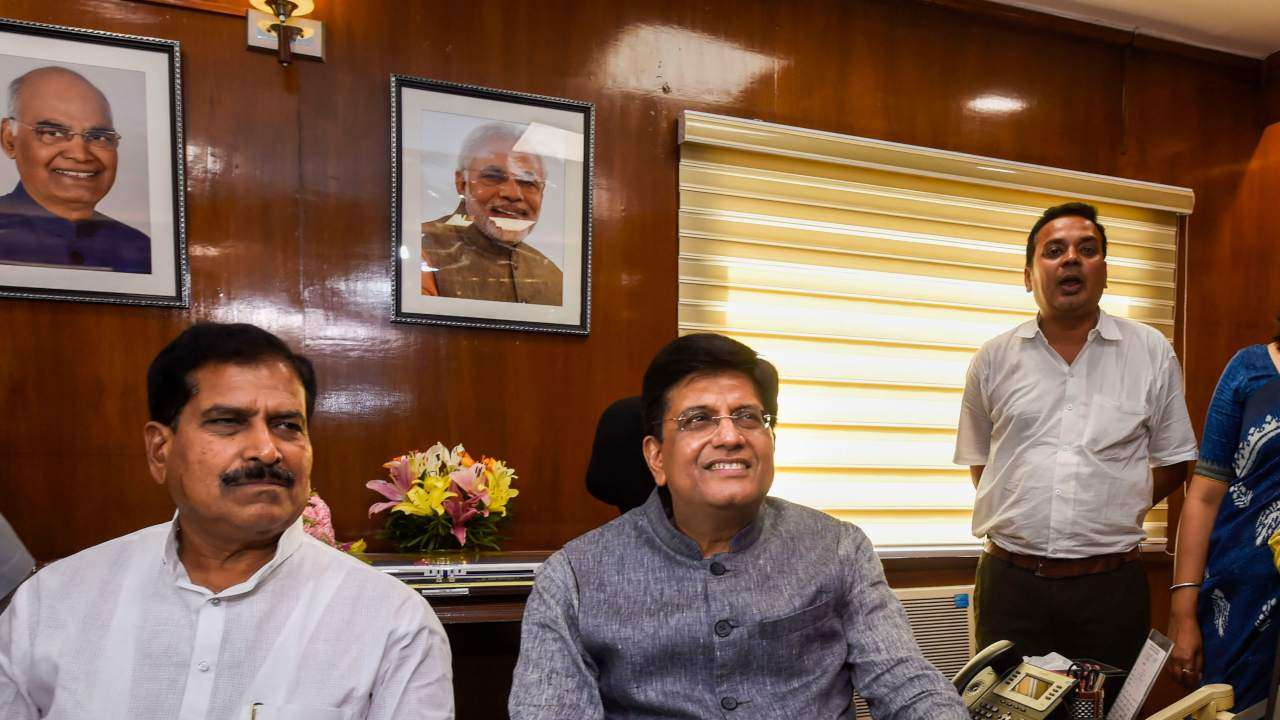 Piyush Goyal takes charge as Minister of Railways and Minister of Commerce and Industry in the newly-elected PM Modi's cabinet, in New Delhi. (Image: PTI)