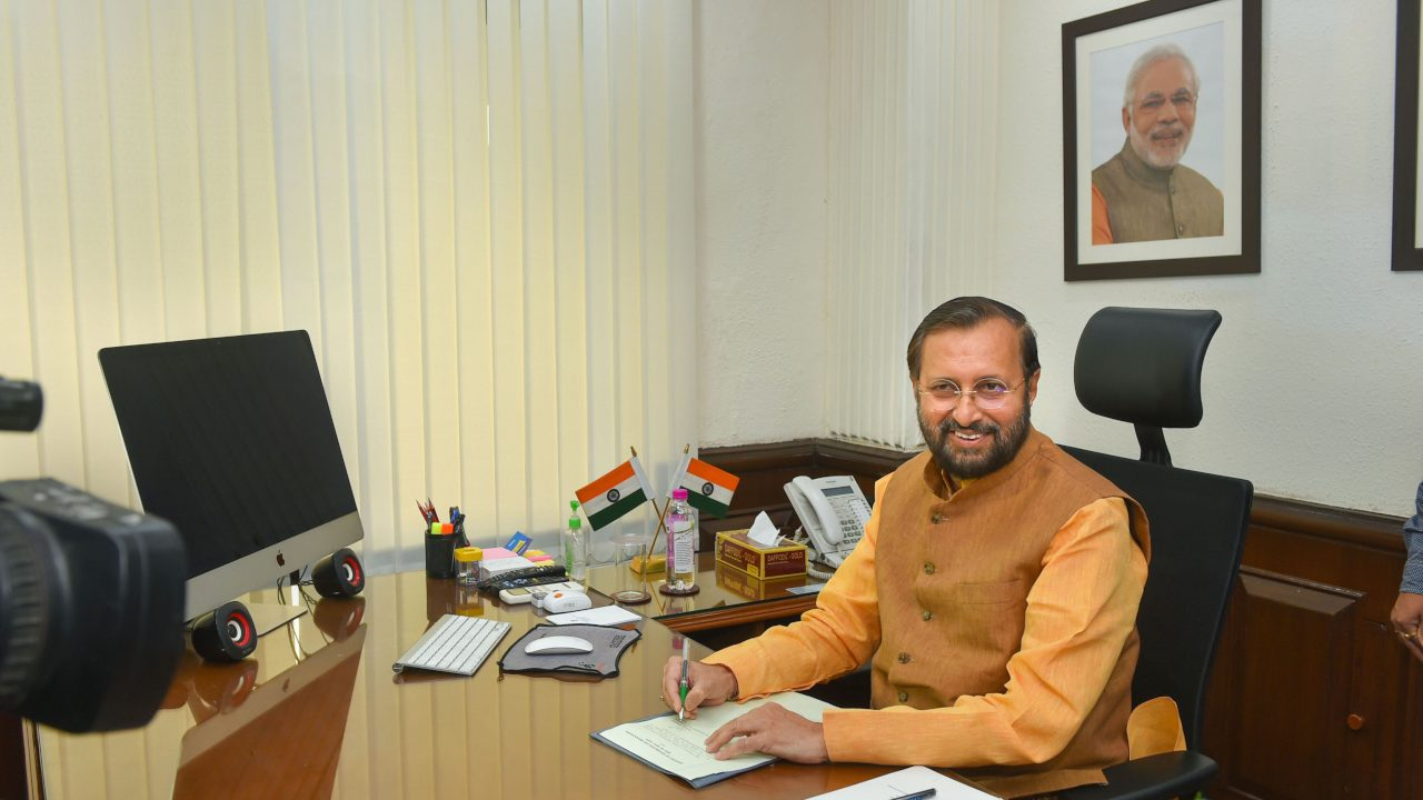 Prakash Javadekar takes charge as Minister of Environment, Forest and Climate Change; and Minister of Information and Broadcasting in the newly-elected PM Modi's cabinet, in New Delhi. (Image: PTI)