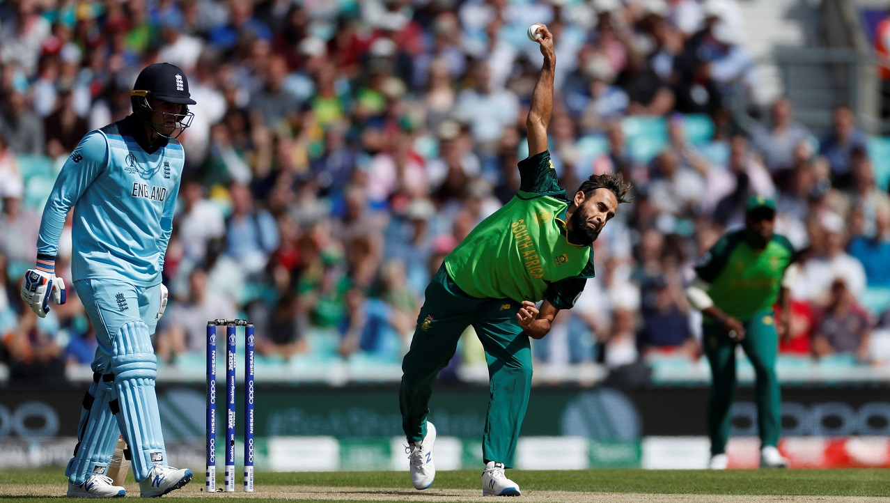 Faf sprung a surprise by handing Imran Tahir the ball for the first over. The move paid off as Tahir got Jonny Bairstow caught behind off the 2nd ball sending back the England opener on a 'Golden Duck'. (Image: Reuters)
