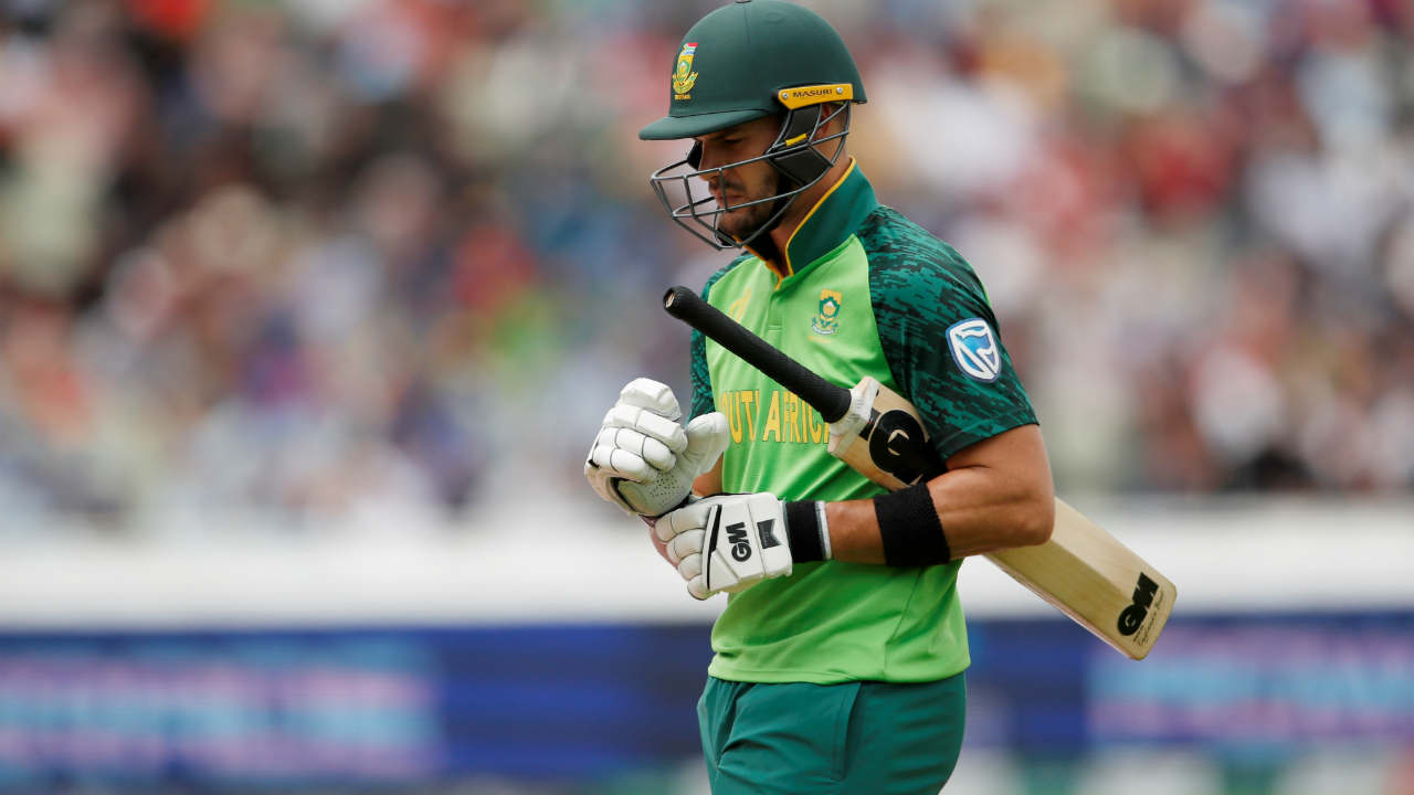 Aiden Markram scored 38 off 55 balls before he was dismissed by Colin de Grandhomme in the 33rd over. (Image: Reuters)