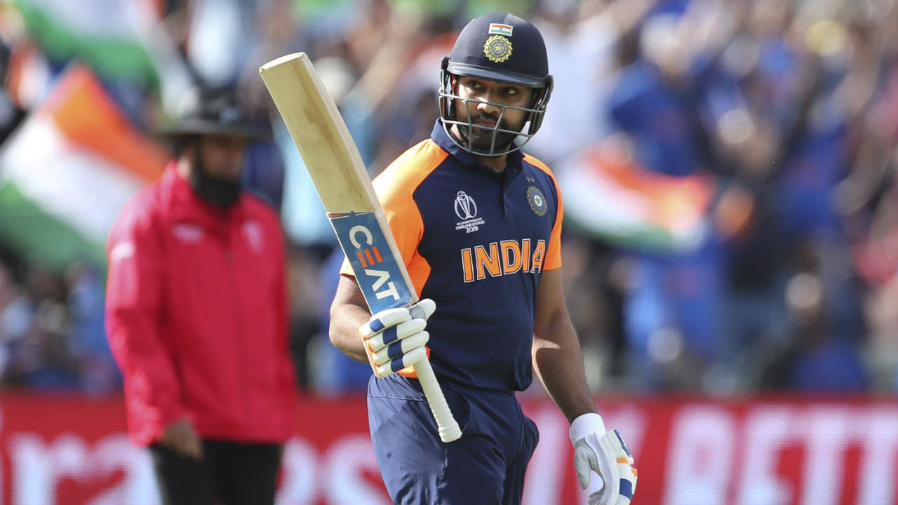 Rohit completed his third hundred of this World Cup and 25th overall with 2 runs off Plunkett in the 35th over. However his joy was short lived as Chris Woakes sent back the Indian opener in the 37th over. Rohit made 102 off 109 as India were 198/3. (Image: AP)
