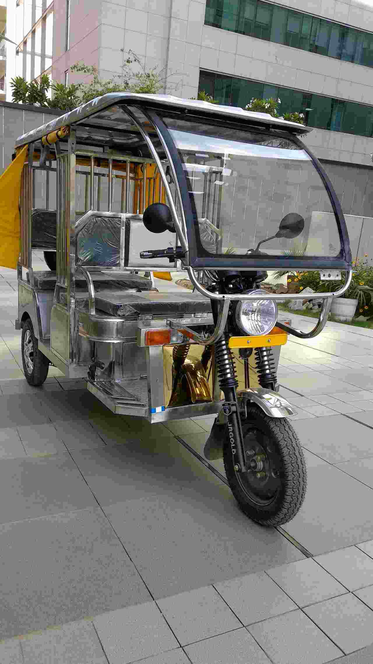 Jindal Stainless, has developed the first stainless steel E-rickshaw prototype in India (Image: Jindal Steel).