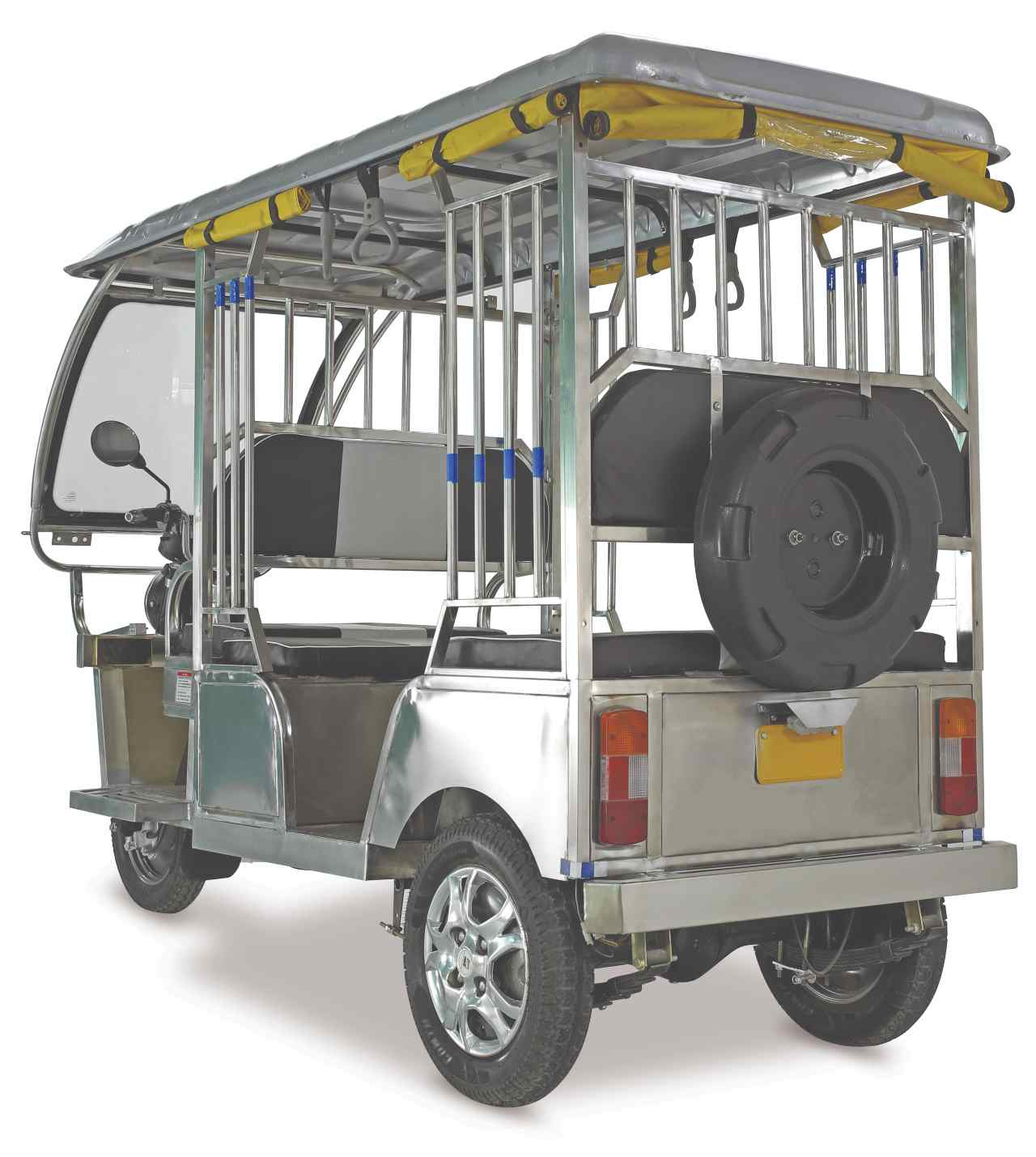 The company claimed that each of these E-rickshaws uses around 80-100 kg of stainless steel, and can be developed in one day. (Image: Jindal Stainless)