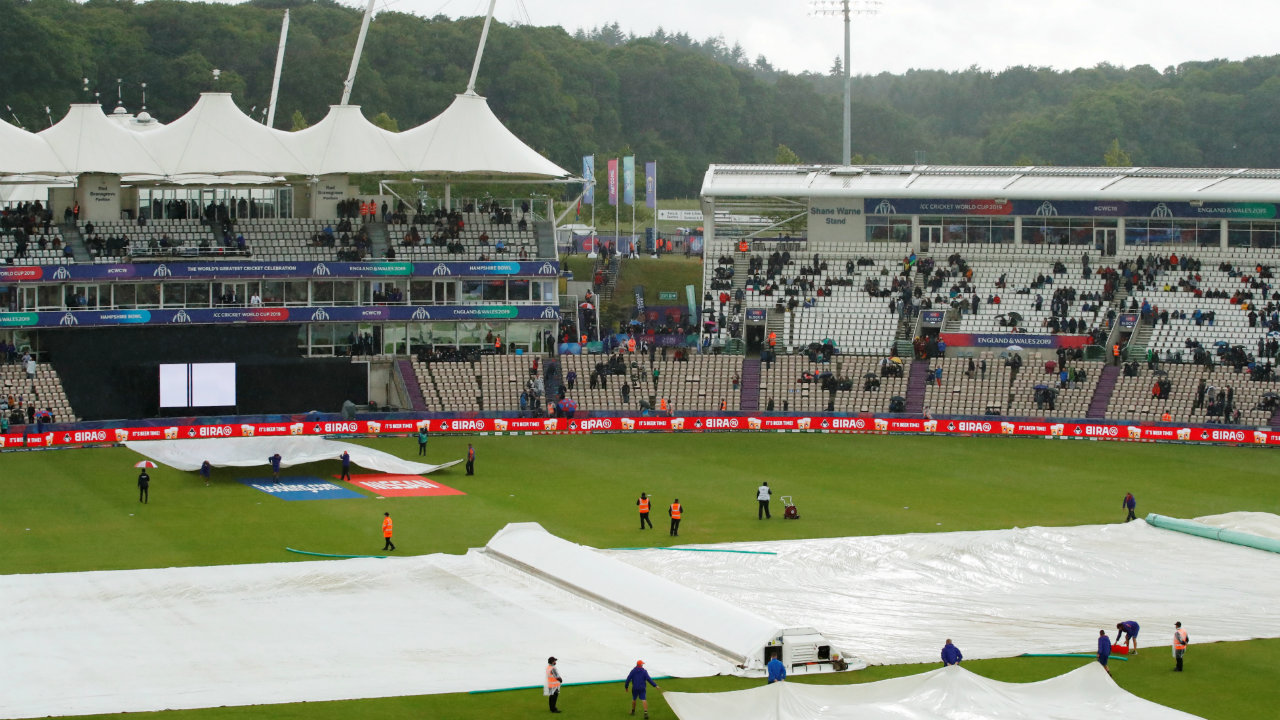 General view of the covers over the pitch during a rain delay during the 2019 ICC Cricket World Cup - South Africa v West Indies - The Ageas Bowl, Southampton, Britain. (Image- Reuters)