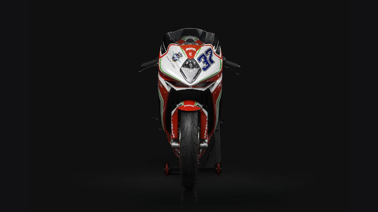 The bike stays exactly the same as the standard but gets the Agusta RC livery. The racing kit that will be solely for track-use, includes light-weight body panels, aluminium rear-sets, fibreglass pillion cowl, brake and lever protectors and a SC Project titanium and fibre exhaust. (Image source: MV Agusta)