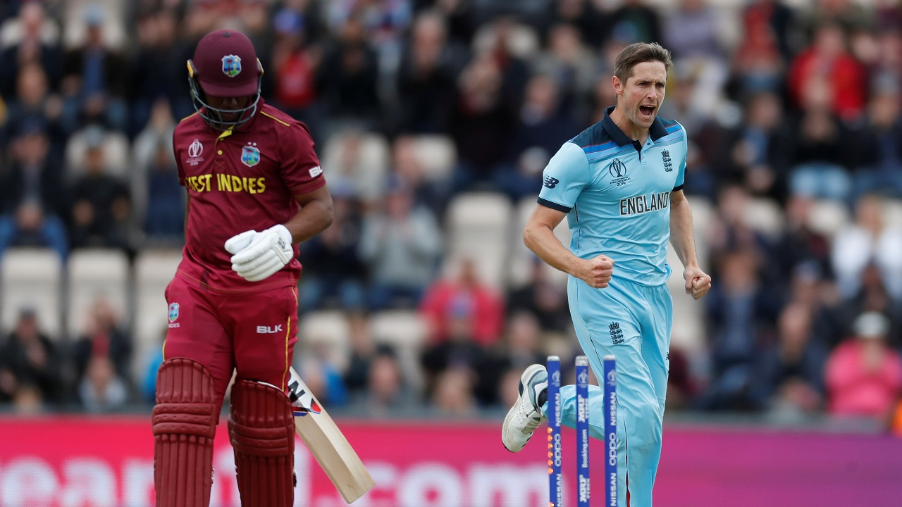 Chris Woakes got England off to a great start when he castled Evin Lewis for just 2 runs in the 3rd over. Chris Gayle and Shai Hope then stitched together a 50-run partnership to steady the innings but Liam Plunkett ended their stand when he got Gayle caught out in the 13th over. Mark Wood then got rid of Hope in the next over reducing West Indies to 55/3. (Image: Reuters)