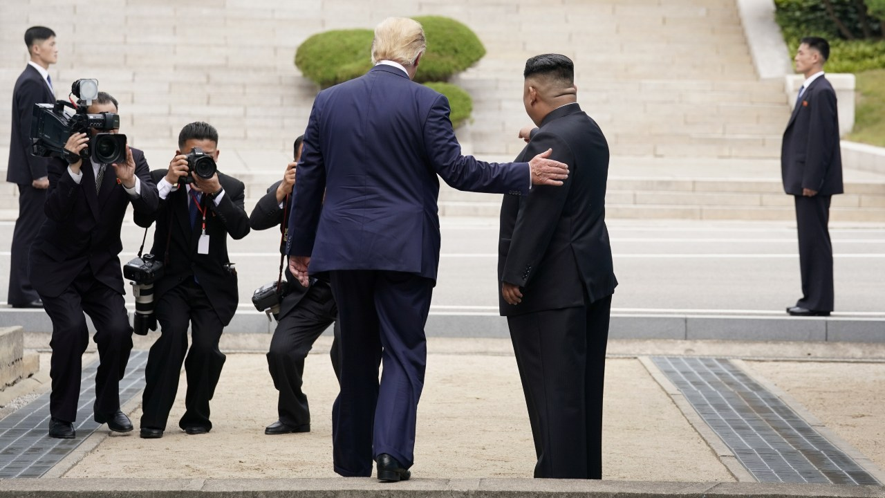 The two leaders met after a tweet from US President Donald Trump inviting the North Korean leader, in what seemed to be an impromptu gesture. (Image: Reuters)