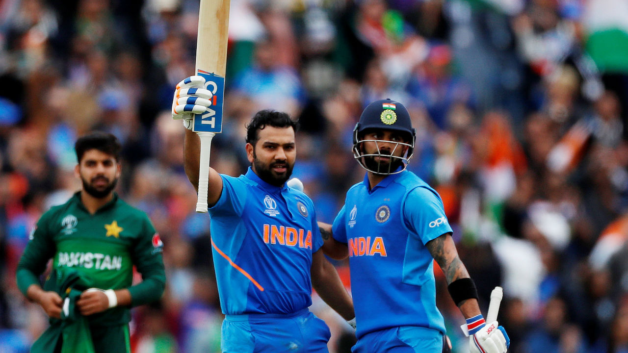 Rohit continued his brilliant form with the bat and completed his second hundred of the tournament with a single off Shadab Khan on the last ball of the 30th over. (Image: Reuters)