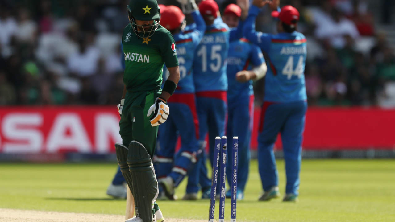Nabi did not give Pakistan much breathing space as he soon got the big wicket of Babar Azam. Nabi clean-bowled Babar in the 18th over. Babar made 45 off 51 as Pakistan were 81/3. (Image: Reuters)
