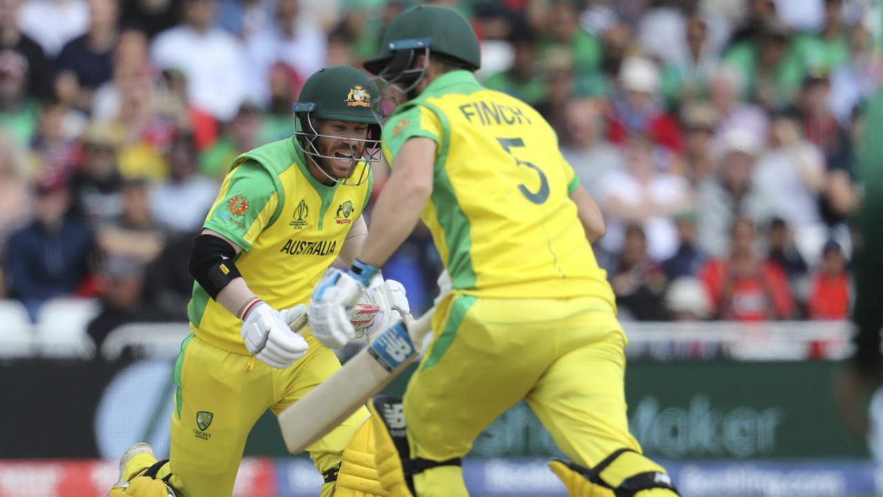 Aaron Finch and David Warner got the Aussies off to a flying start with a brilliant 121-run opening stand. Warner was the first to bring up his 50 off 55 balls and Finch followed suit taking just 47 balls. (Image: AP)