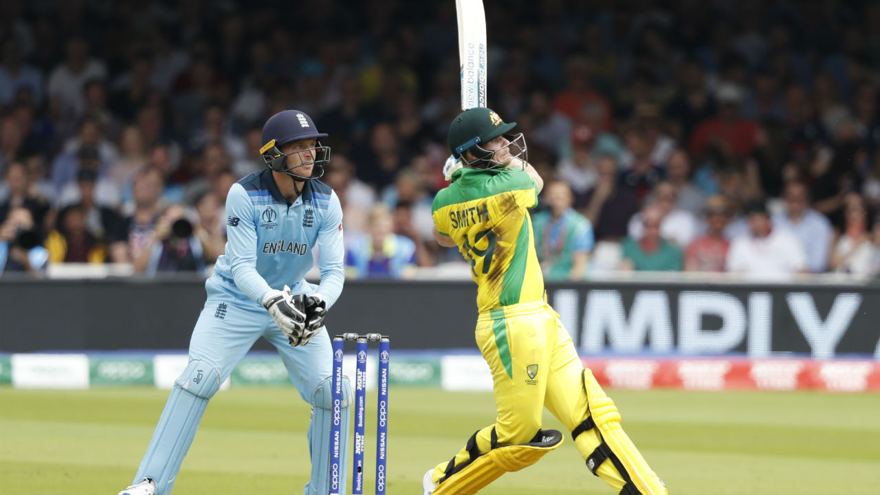 As wickets kept tumbling from one end, Steve Smith held fort from the other and played a steady knock of 38 off 34. Smith was dismissed by Chris Woakes in the 46th over. Australia were 250/6. (Image: Reuters)