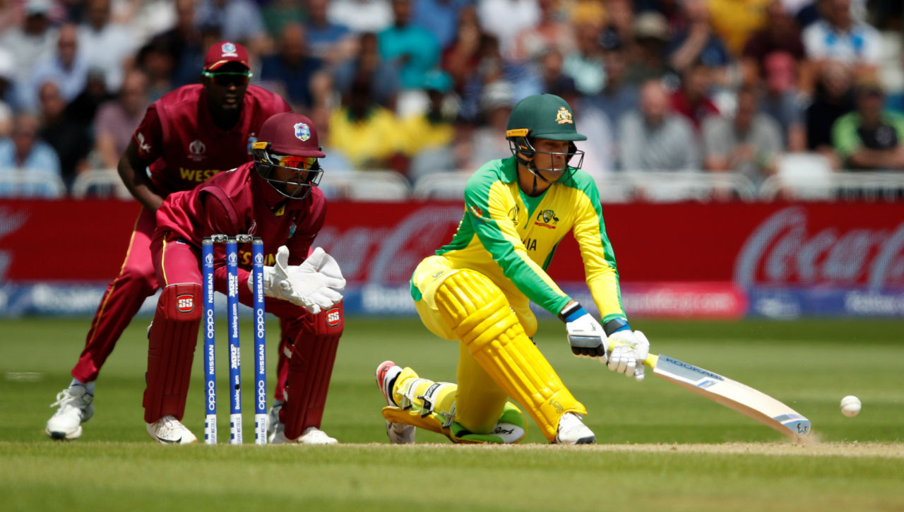 Australian vice-captain Alex Carey then played a vital innings of 45 from 55 balls and stitched a 68 run partnership with Steve Smith to stabilize the innings. Carey was dismissed by Russell in the 31st over. (Image: Reuters)