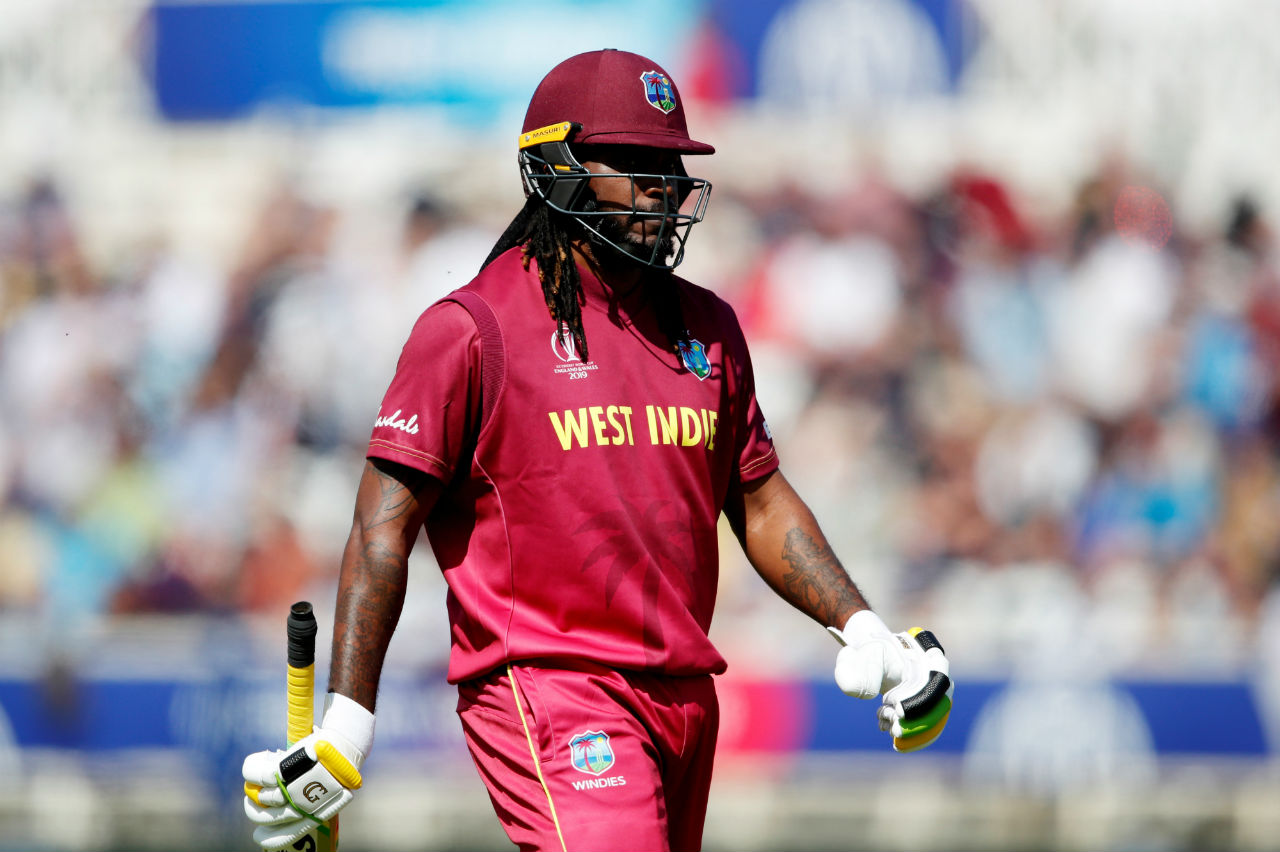 Chris Gayle made 21 and survived a few close chances before Mitchell Starc trapped him in front of the wickets in the 5th over. West Indies were 31/2. (Image: Reuters)