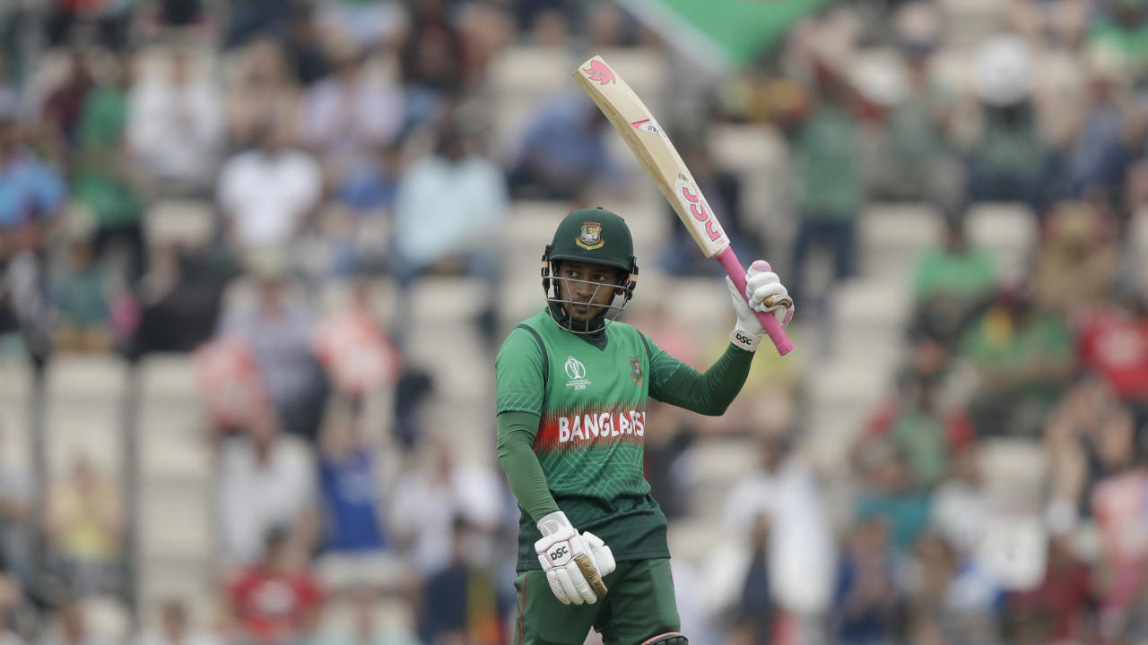 Mushfiqur Rahim and Mahmudullah then joined forces to help Bangladesh negotiate the middle overs. They added 56 runs together during which Mushfiqur brought up his fifty with a six in the 37th over. The partnership was finally broken by Naib in the 43rd over when Mahmudullah picked out Nabi. (Image: AP)