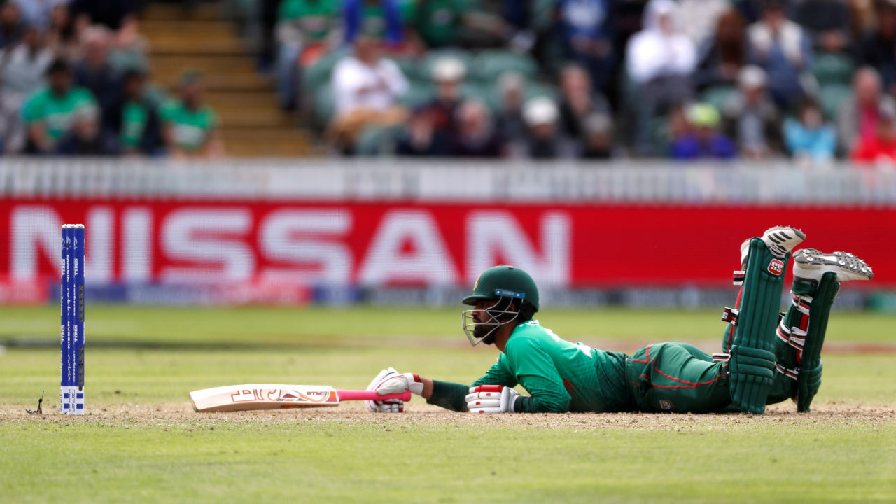 Sheldon Cottrell produced a moment of genius as he saved a straight drive from Tamim off his bowling and got a direct hit to catch the batsman short of his crease. Tamim was out in the 18th over as Bangladesh were 121/2. (Image: Reuters)