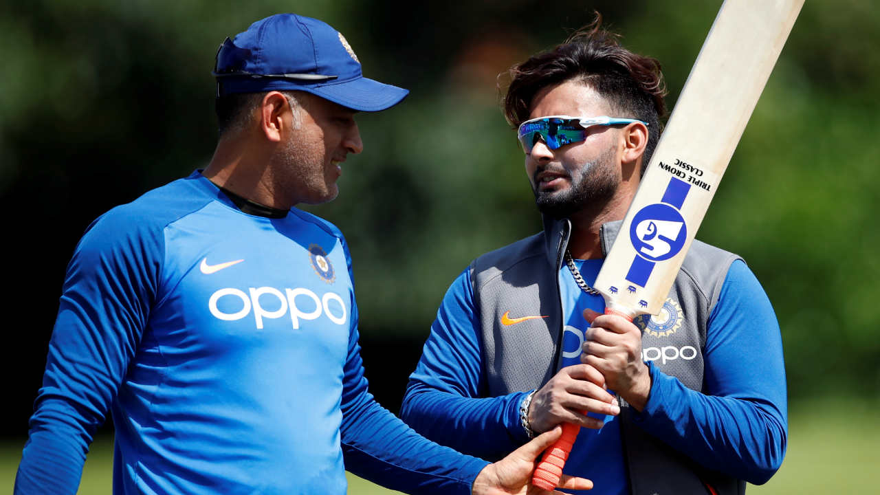 MS Dhoni and Rishabh Pant share a light moment in the nets. (Image: Reuters)