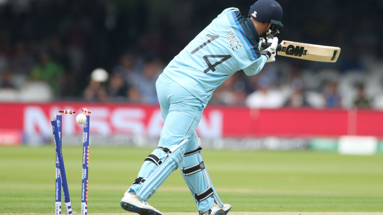 England were off to a horrible start as Behrendorff castled James Vince on just the second delivery of the first over of England's innings. Vince was out on a duck. (Image: Reuters)