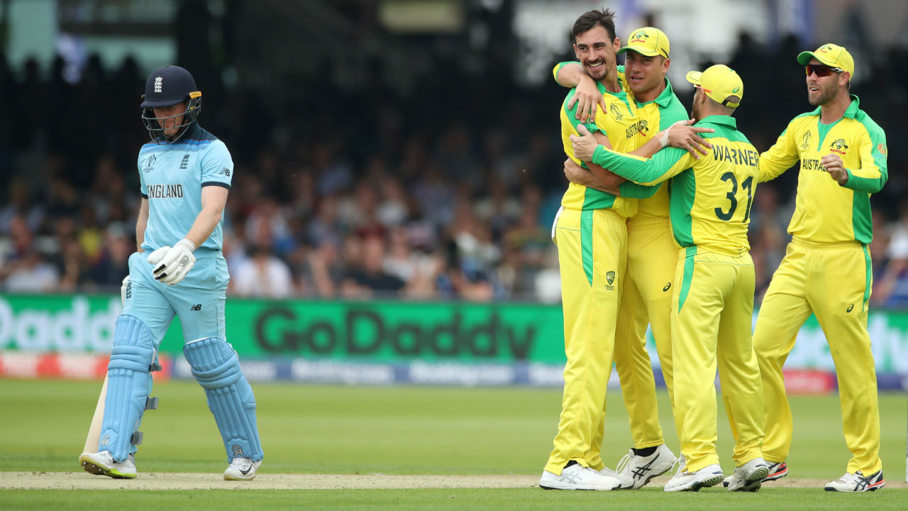 Australia 285-7 beat England 221-all out by 64 runs | Australia put a dent in England's semi-final qualification hopes handing them their third defeat in the group stages. Chasing 286, England's top-order were blown apart by Jason Behrendorff and Mitchell Starc reducing them to 26/3. Stokes fought back valiantly to help the team recover with 89 off 115 balls but was outdone by an unplayable yorker from Starc. Behrendorff then continued to torment the batsmen finishing with his maiden ODI five-wicket haul (5/44). (Image: Reuters)