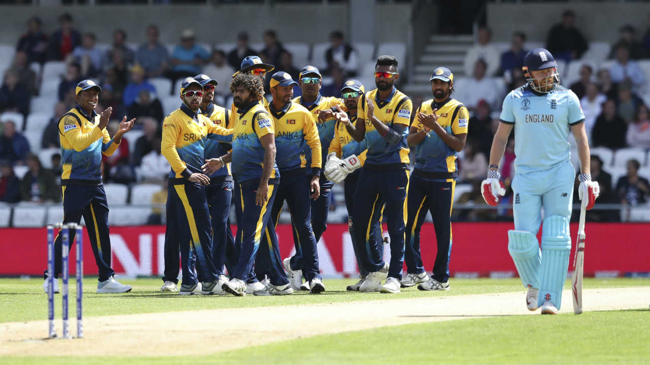 Lasith Malinga provided Sri Lanka with a great start sending back Jonny Bairstow for a 'Golden Duck' in the very first over. James Vince hit Malinga for back-to-back boundaries in the 7th over but then edged the 5th delivery to the man at slip. Malinga's double-strike reduced England to 26/2. (Image: AP)