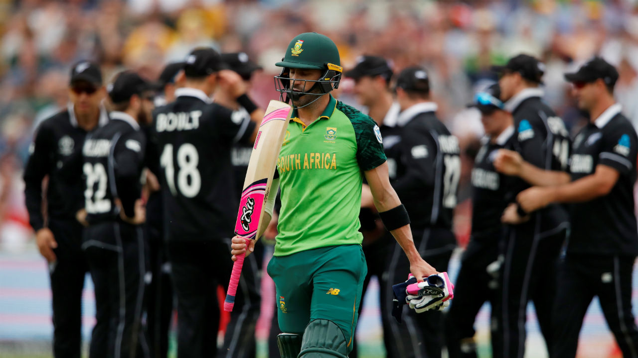 South African captain Faf du Plessis scored 23 from 35 deliveries before New Zealand pace Lockie Ferguson castled him in the 14th over. South Africa were 59/2 when du Plessis departed. (Image: Reuters)