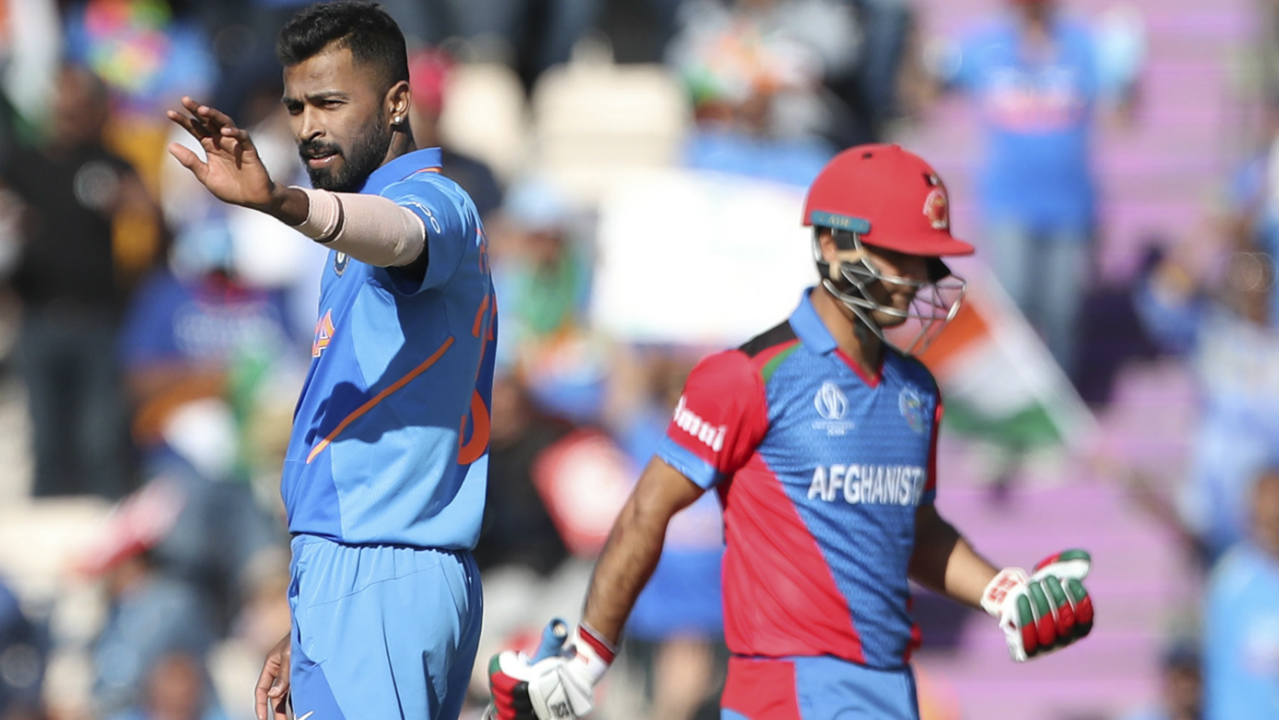 Mohammad Nabi and Najibullah Zadran stitched together a 36-run partnership for the 6th wicket. Hardik finally ended the stand in the last over of his spell. The slower delivery got the better of Najibullah who chipped the ball straight to Chahal at short midwicket. (Image: AP)