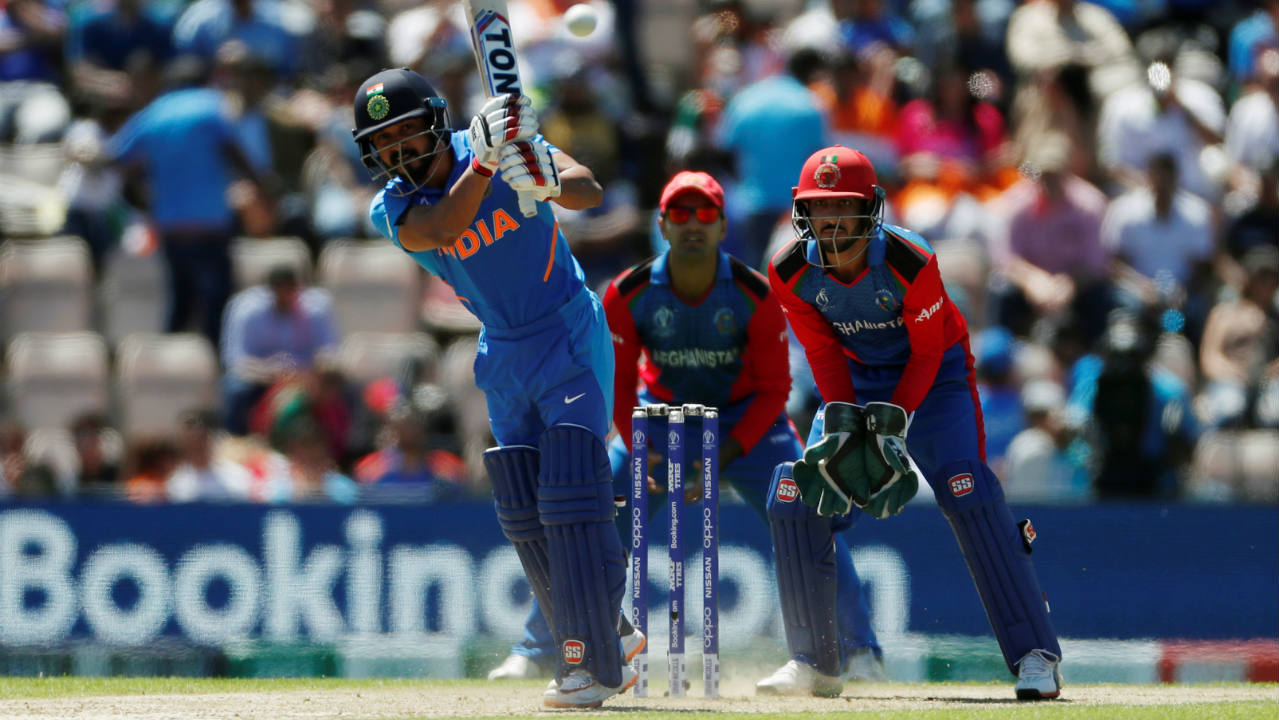 Hardik Pandya couldn't make much of an impact scoring just 7 runs before edging an Aftab Alam delivery to the keeper. Kedar competed his fifty in the final over but Afghanistan skipper Gulbadin Naib got rid of both Kedar and Mohammad Shami in the 50th over. India finished with just 224/8. (Image: Reuters)
