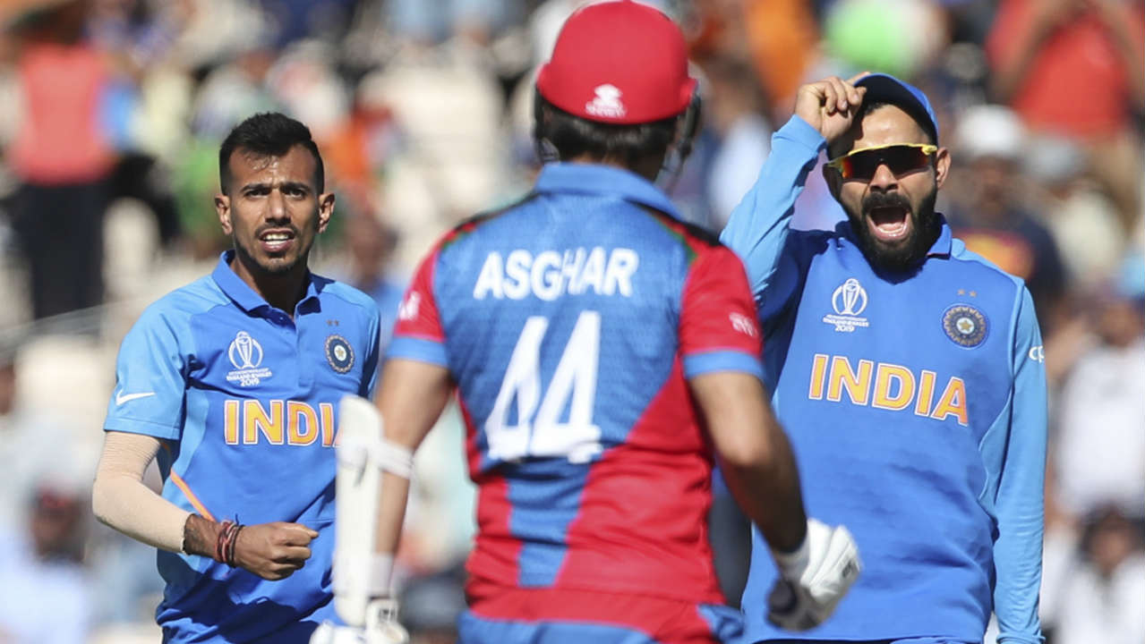 Yuzvendra Chahal then joined the party when he castled Asghar Afghan in the 35th over. Asghar returned with just 8 runs from 19 balls with Afghanistan needing 95 runs from 90 balls to win. (Image: AP)