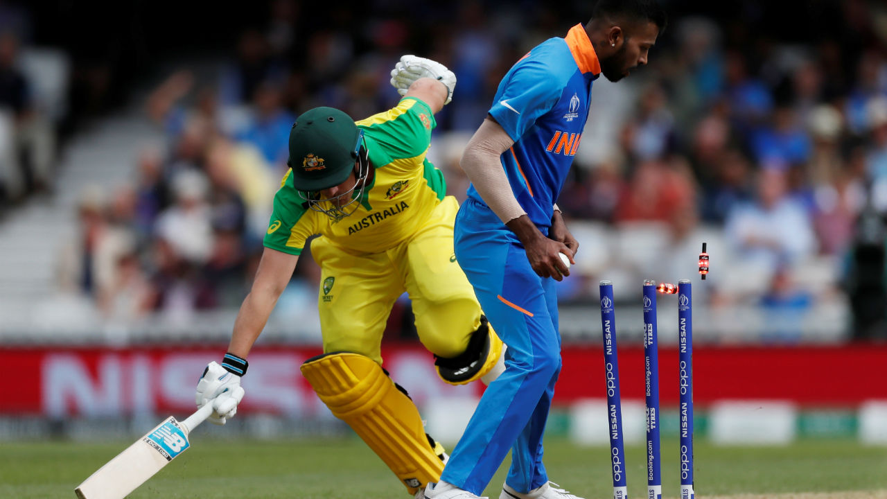 Finch's stay in the middle came to an end when Keday Jadhav and Haridk Pandya combined to affect a run-out. Finch made 36 off 35 balls. Australia were 61/1 when the Australian skipper made his way back to the dressing room. (Image: Reuters)