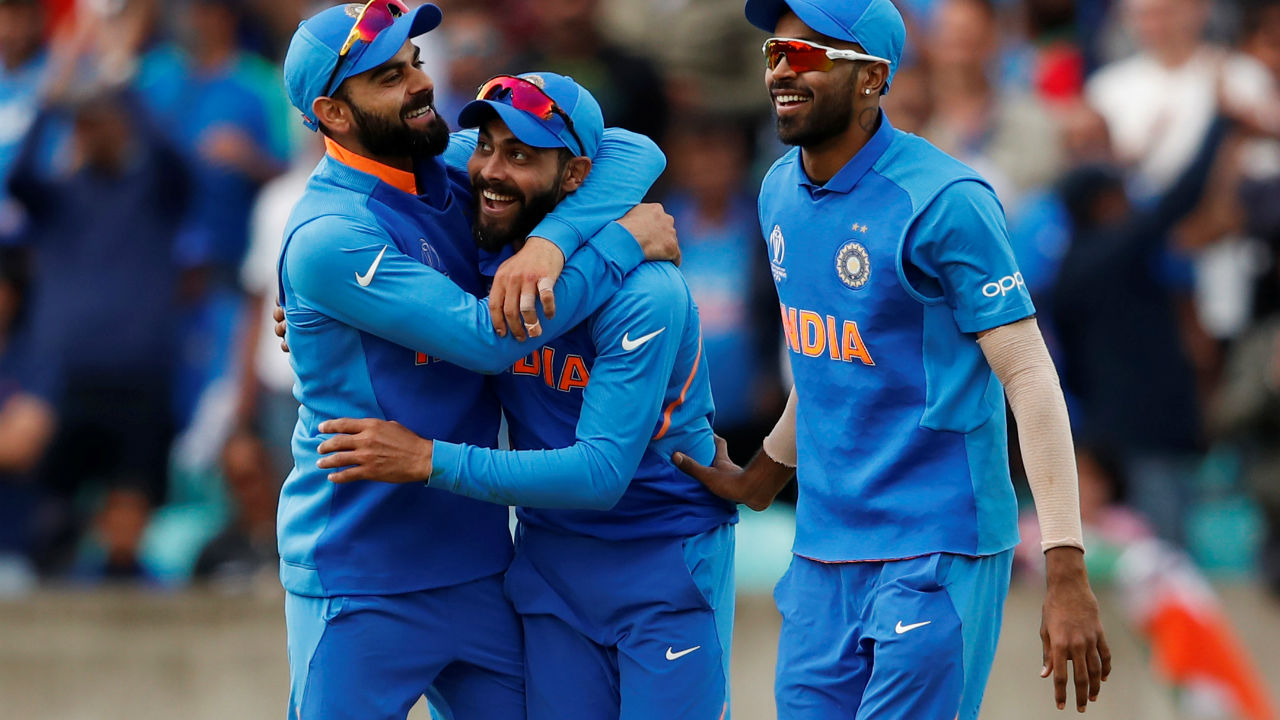 Ravindra Jadeja took a superb catch in the deep in the 41st over off the bowling of Chahal to dismiss Glenn Maxwell as India inched closer to win. (Image: Reuters)