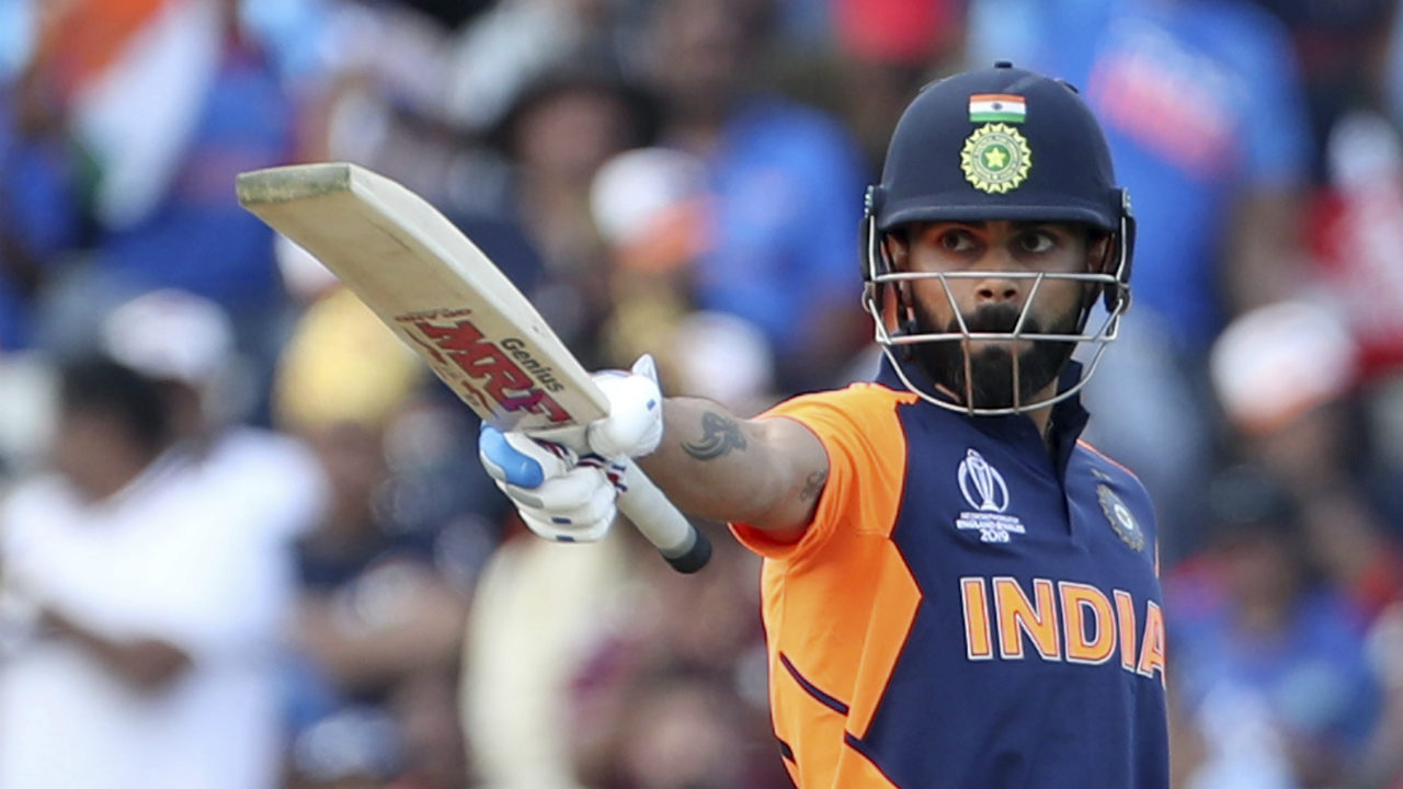 First captain to register five consecutive fifties in World Cup history | In 2019 Cricket World Cup, Virat Kohli registered the scores of 82, 77, 67, and 72 against Australia, Pakistan, Afghanistan, and West Indies and thus etched his name in the record books as the first Captain to hit five consecutive scores of 50+ runs. (Image: AP)