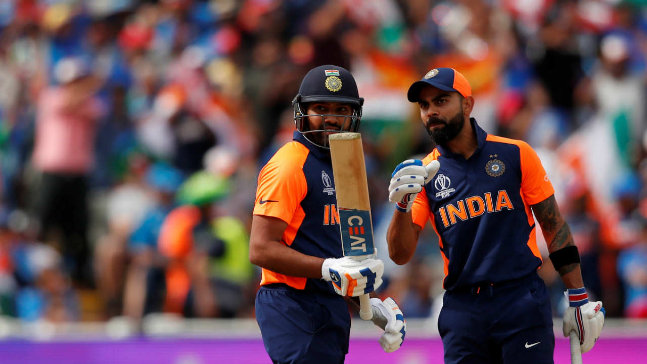 Following that early dismissal, Kohli along with Rohit Sharma steadied the Indian run-chase. The Indian captain continued his fine form and brought up his 5th consecutive half-century of the tournament in the 20th over. Rohit followed his captain's example and brought up his own fifty in the 23rd over. The two put up a 138-run stand. (Image: Reuters)