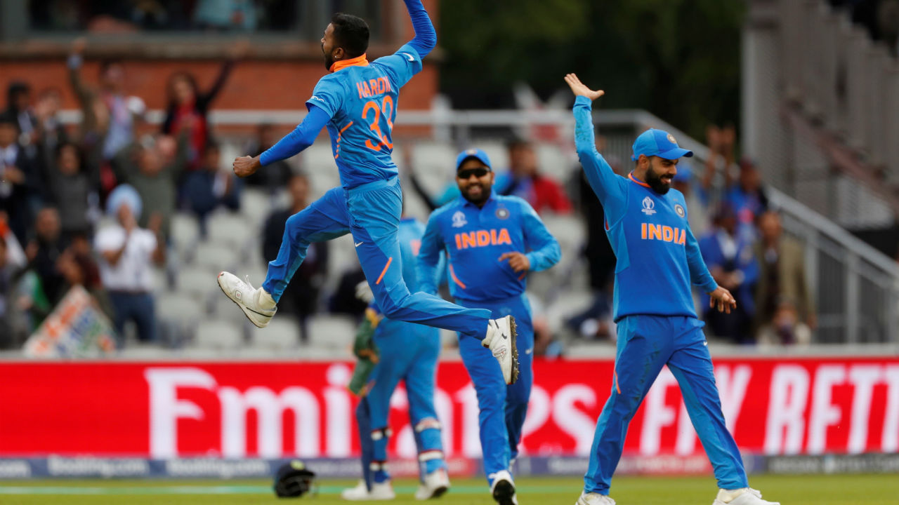 There was more delight in store for India as Hardik Pandya sent back Mohammad Hafeez and Shoaib Malik off successive deliveries in the 27th over to leave Pakistan were struggling at 129/5. (Image: Reuters)