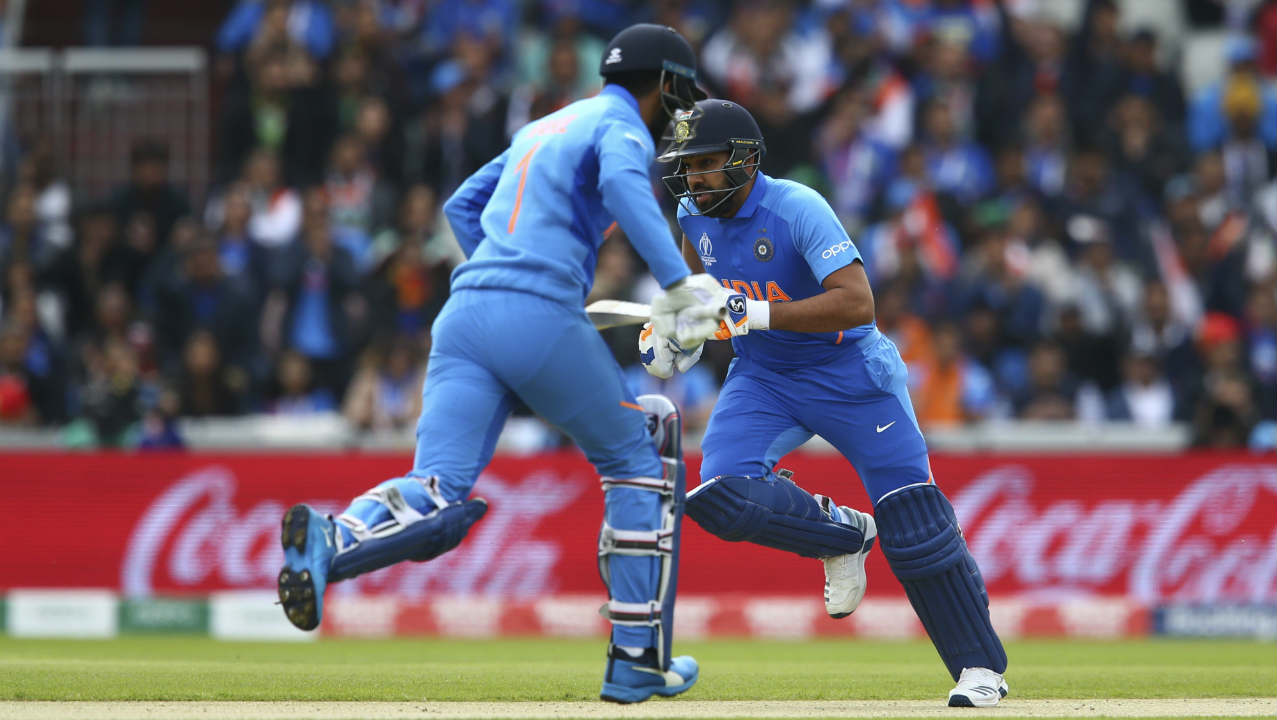 Rohit Sharma and KL Rahul got off to a good start reaching 53 runs within the first 10 overs. They survived a couple of close calls when running between wickets but were let off by poor decisions made by the Pakistan fielders. (Image: AP)
