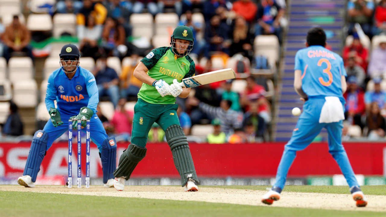 David Miller and Andile Phehlukwayo helped South Africa recover with a patient 46-run partnership off 75 balls. However, Chahal once again entered the attack and broke the partnership getting Miller (31 off 40 balls) caught & bowled in the 36th over. Phehlukwayo (34 off 61) was then looking to accelerate but was outdone by Chahal who got him stumped in the 40th over. Chahal finished with impressive figures of 10-0-51-4 in his debut World Cup game. (Image: Reuters)