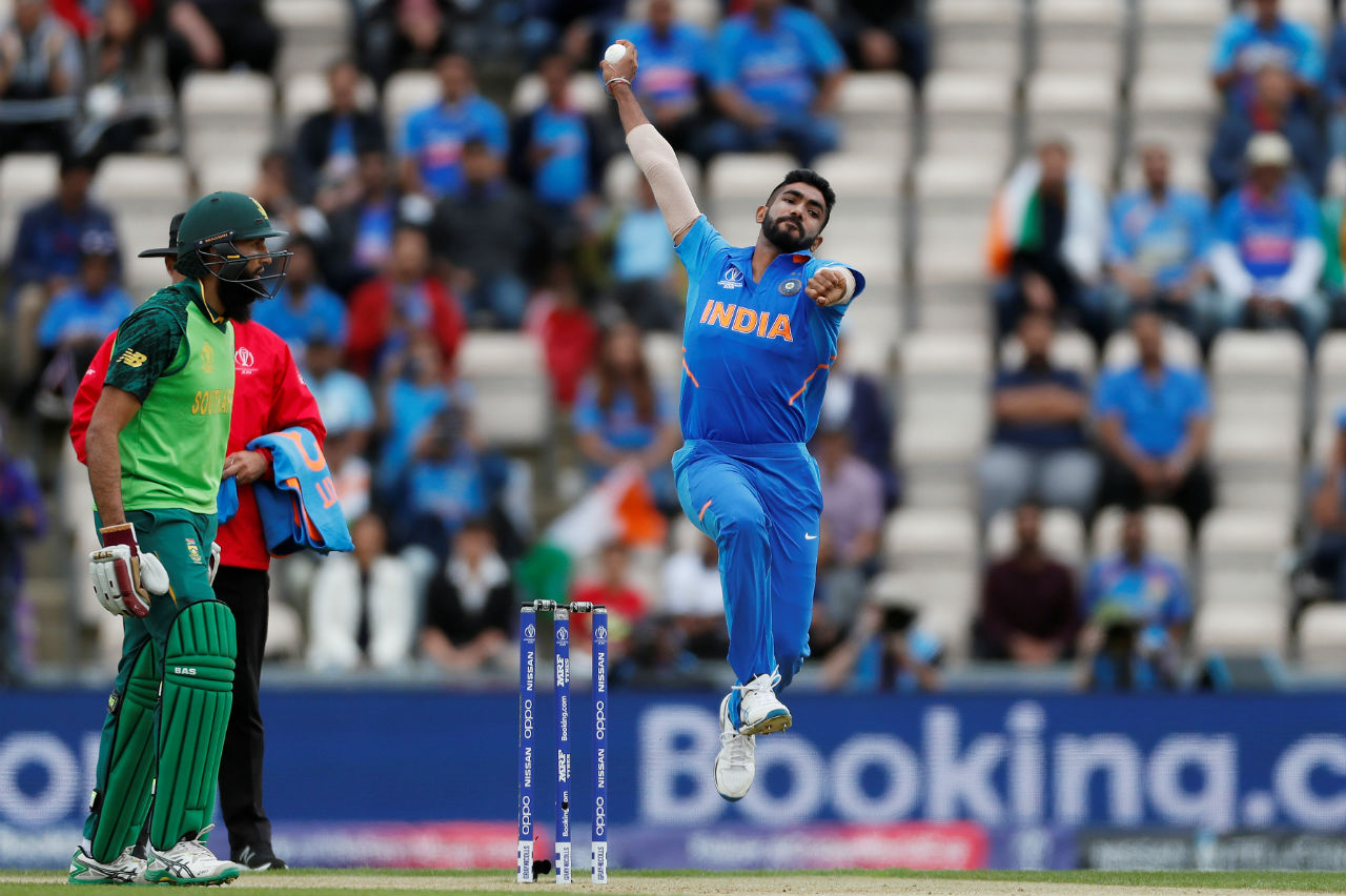 Jasprit Bumrah gave the men in Blue a flying start as he accounted for the wickets of Proteas openers Hashim Amla and Quinton de Kock inside first 10 overs. South Africa were 34/2 after 10 overs. (Image: Reuters)
