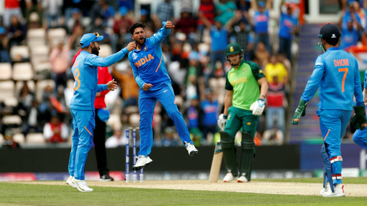 Kuldeep Yadav then got into the act as he picked up his first wicket in the 23rd over. Kuldeep trapped JP Duminy LBW with a quicker delivery which took the South African by surprise. Duminy returned with just 3 runs to his name as South Africa were struggling at 89/5. (Image: Reuters)