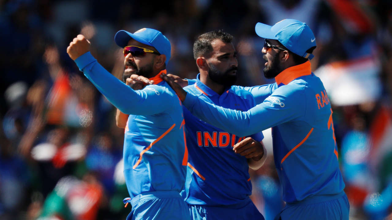 Defending 268, India strated on front foot as its hat-trick hero from the previous match Mohammed Shami sent back Winidies openers Chris Gayle and Shai Hope on a paltry total of 16. Gayle made 6 while Hope scored 5. (Image: Reuters)