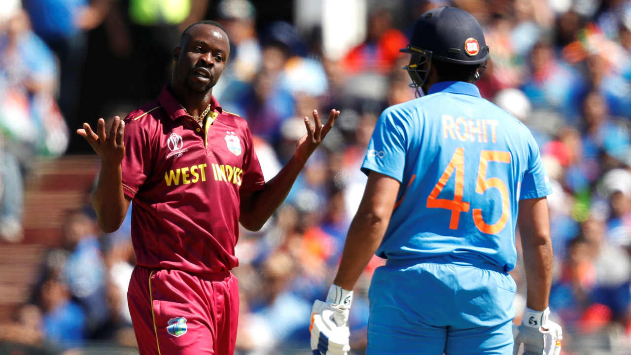 India dealt a big blow early in the match as Rohit (18 off 23) edged a delivery from Kemar Roach to Windies keeper Shai Hope. India were 29/1. (Image: Reuters)