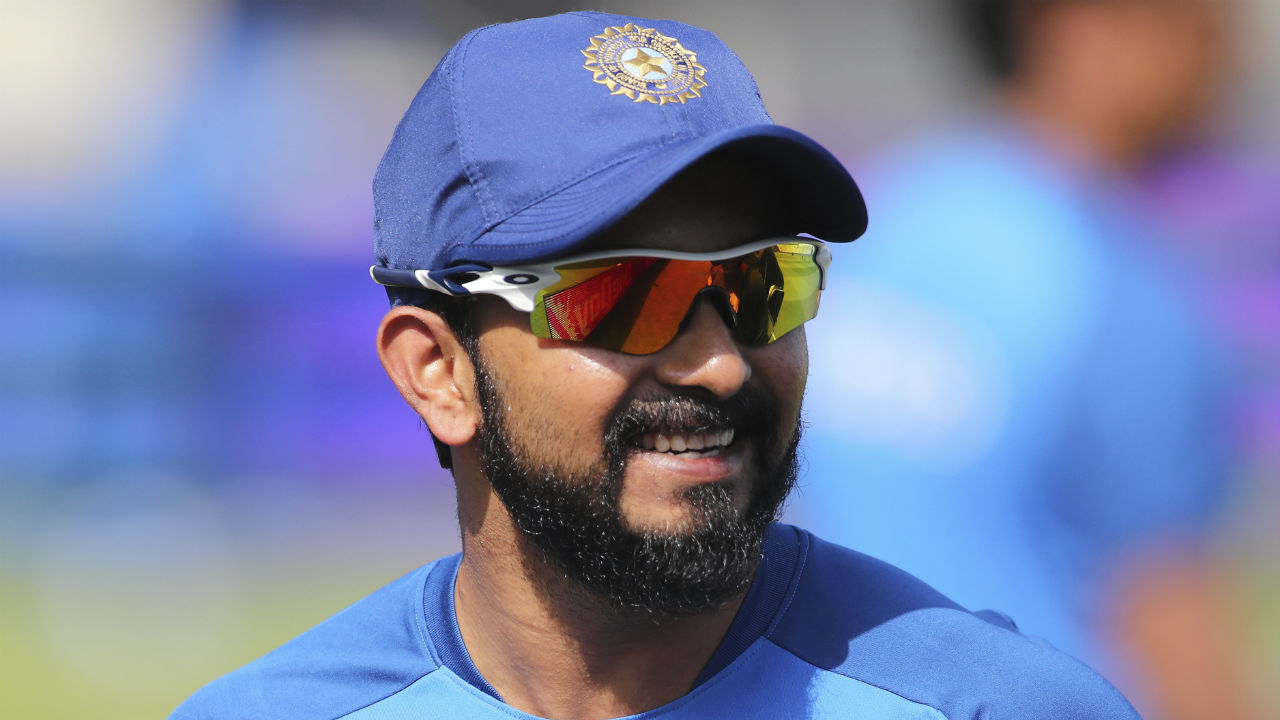 Kedar Jadhav is all smiles during the practice session. He has only one significant score in the tournament which came against Afghanistan (52) and he'll be eager to get among the runs against England. (Image: AP)