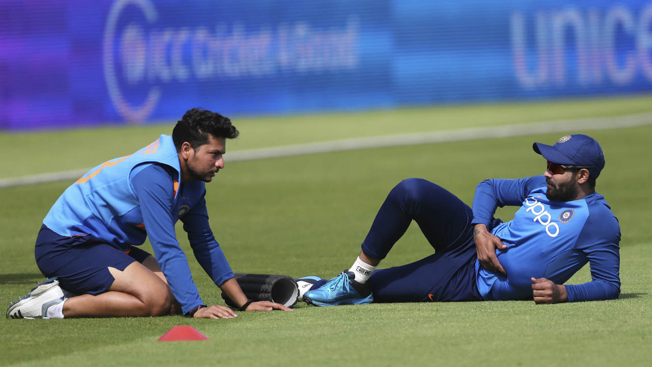 Ravindra Jadeja seems pretty relaxed while warming up with Kuldeep Yadav. There have been calls to include him in the Playing XI but Team India will be reluctant to tinker with a winning combination. (Image: AP)