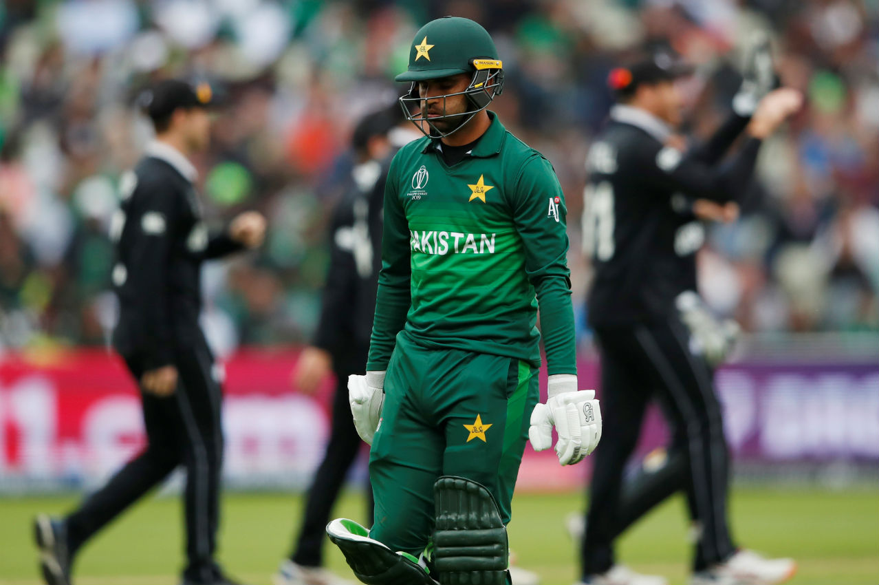 Chasing 238, Pakistan openers Fakhar Zaman and Imam-ul-Haq hit few boundaries in initial overs before Fakhar edged a delivery from Trent Boult high in the air and Guptill pouched the ball. Fakhar made 9 of 10 as Pakistan were 19/1. (Image: Reuters)