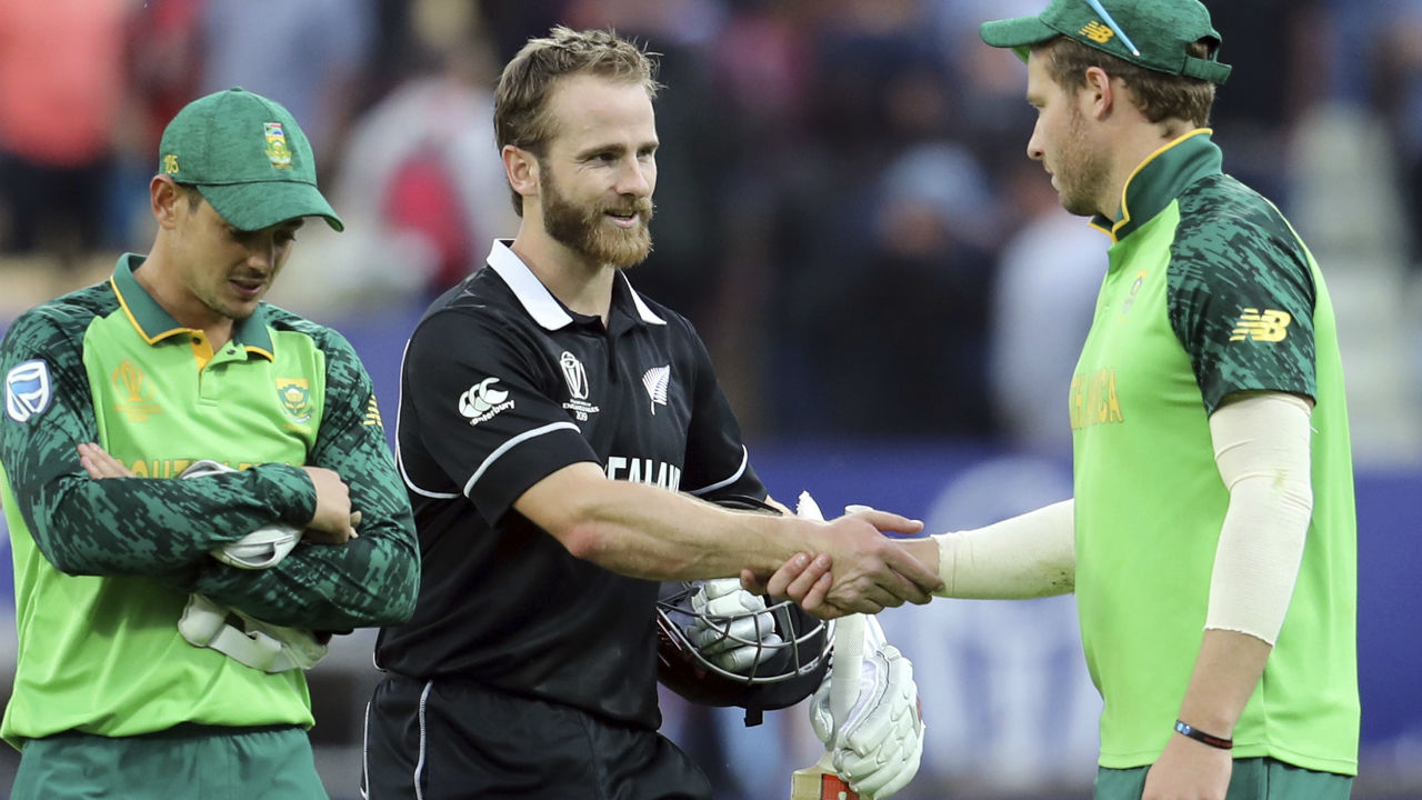 New Zealand 245-6 beat South Africa 241-6 by four wickets | New Zealand emerged victorious in a thrilling low-scoring encounter at Edgbaston. Despite being reduced to 137/5 midway through the chase, captain Williamson played a gem of an innings finishing unbeaten on 106* off 138 balls to guide his team across the finish line. (Image: Reuters)