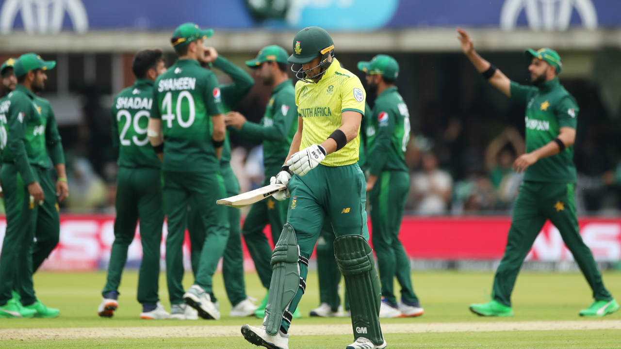 Quinton de Kock and captain Faf du Plessis then steadied the run-chase with a slow-scoring 87-run stand. The partnership was broken by Shadab Khan in the 20th over just as de Kock was looking to accelerate. de Kock returned with 47 off 60 balls. Shadab also castled Aiden Markram in the 24th over to reduce South Africa to 103/3. (Image: Reuters)