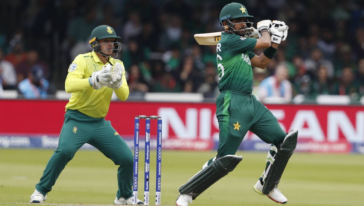 Babar and Haris Sohail then teamed up and began attacking the bowlers. Together they added 81 runs off just 68 balls. Babar also brought up his fifty off 61 balls in the 36th over. He was finally caught out when going for another big shot against Andile Phehlukwayo in the 42nd over. Babar returned with 69 off 80 balls with Pakistan 224/4. (Image: AP)