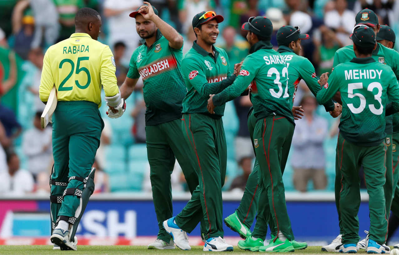 JP Duminy provided a glimmer of hope when he hit Saifuddin for two consecutive boundaries in the 47th over. However, Mustafizur then stepped up once again and castled Duminy in the next over to crush all South African hopes. Bangladesh won the game by 21 runs. Shakib Al Hasan was adjudged the Man of the Match for his contributions of 75 runs and 1/50. (Image: Reuters)