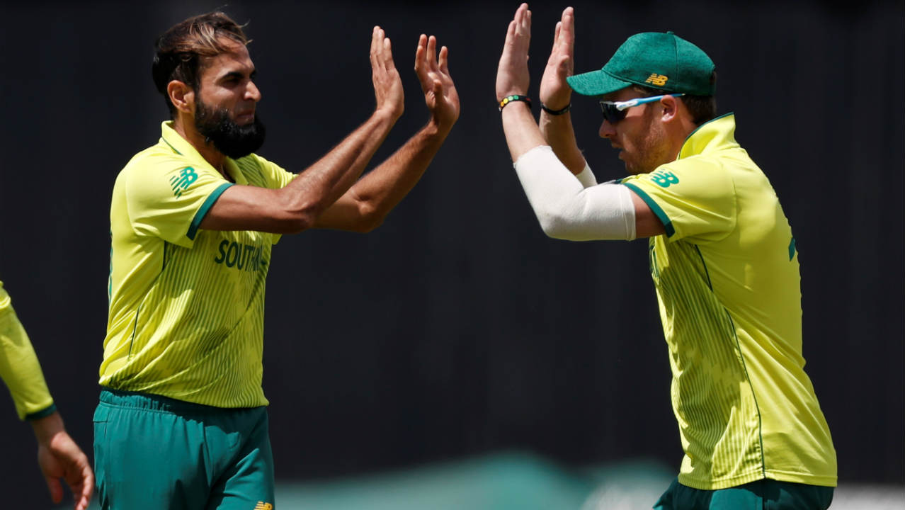 Imran Tahir finally got the breakthrough marking his 100th ODI appearance with the important wicket of Shakib Al Hasan. Shakib returned with 75 off 84 balls. Mohammad Mithun walked out and added 21 off 21 balls before Tahir struck again as Mithun chopped the ball back onto the stumps. (Image: Reuters)